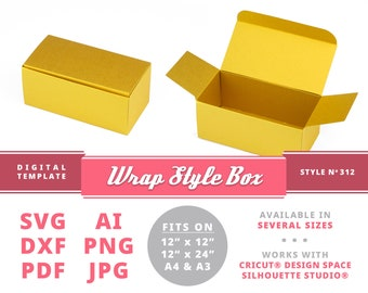 WRAP STYLE BOX Instant Download Printable Digital Box Template Packaging Cricut Silhouette Svg Dxf Reception Card Box