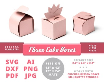 CUBE GIFT BOXES Treat Boxes Instant Download Papercraft Favor Boxes Jewelry Packaging Boxes Ring Bearer Box with Lid Be My Bridesmaid Cricut