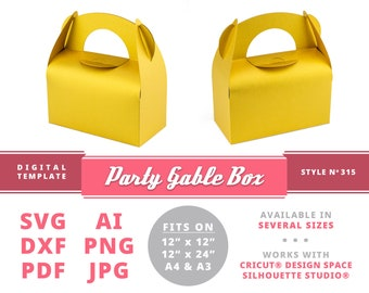 PARTY GABLE BOX Instant Download Printable Digital Box Template Cricut Silhouette Svg Dxf Gable Boxes Diy Card Box Activity Box