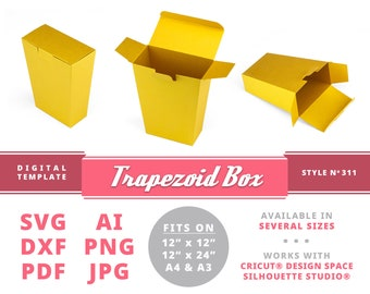 TRAPEZOID BOX Instant Download Printable Digital Box Template Cricut Silhouette Svg Dxf Wedding Welcome Box Card Box With Lock Card Box Gold