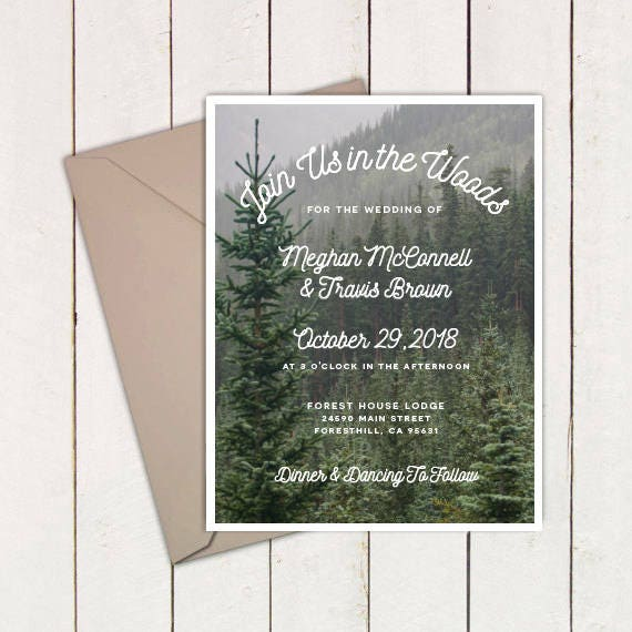 Wedding Invitation Packages Canada: Forest Mountain Woodland Woods Wedding Invitation