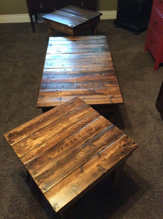 Rustic, solid reclaimed wood, matching coffee and end tables