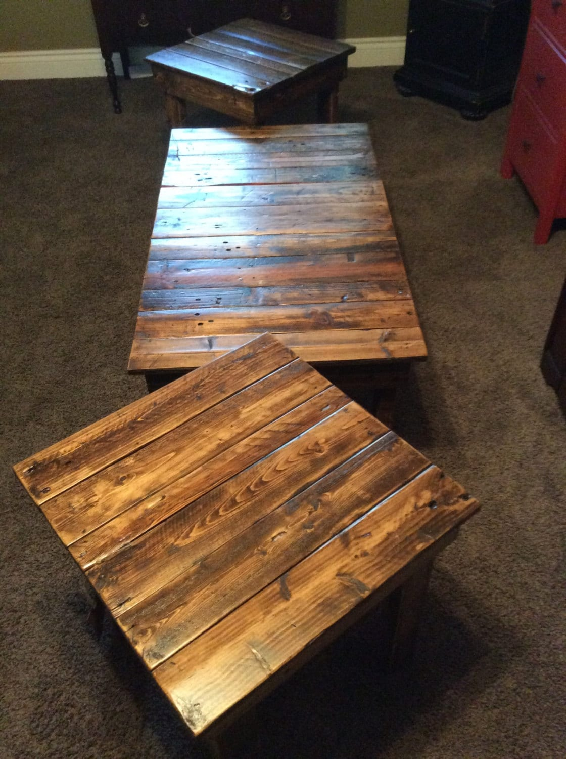 the best attitude 76b27 a0c48 Rustic, solid reclaimed wood, matching coffee and end tables