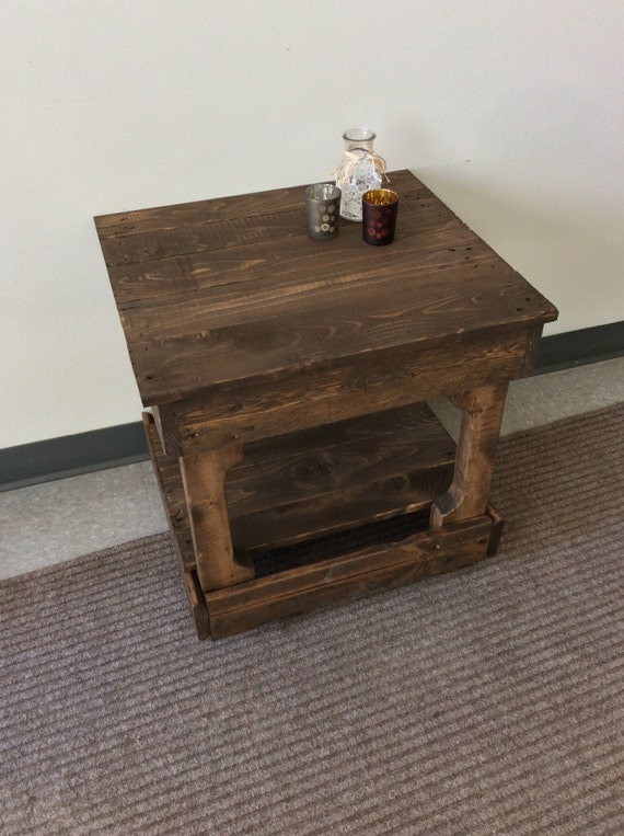 Solid reclaimed wood, end table