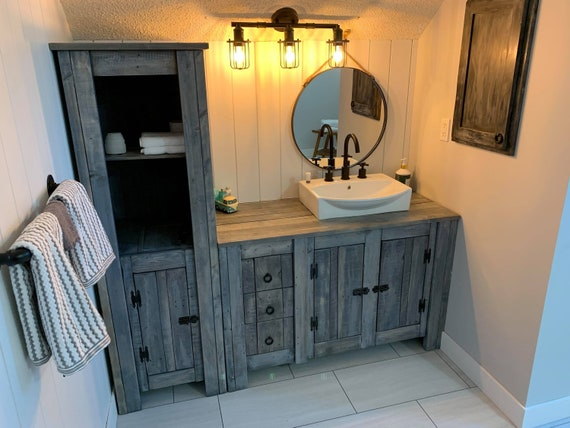 Reclaimed Wood Bathroom Vanity and Linen Tower