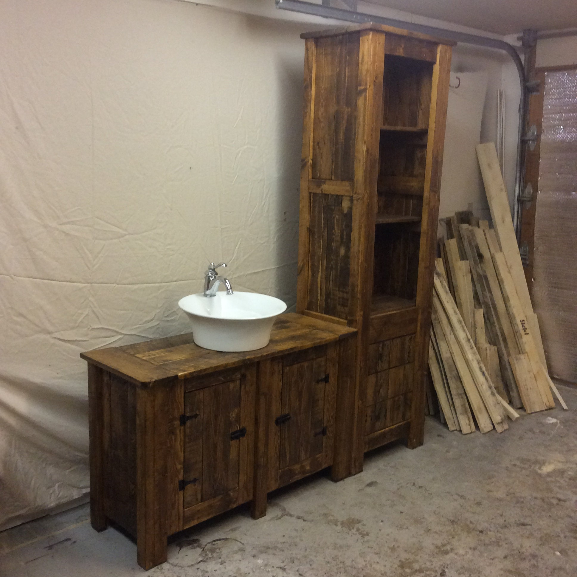 Rustic Reclaimed Wood Bathroom Vanity and Storage Cupboard