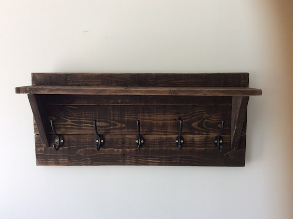 Rustic coat hooks with shelf