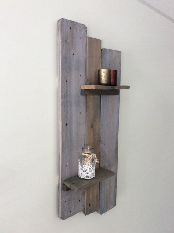Solid, reclaimed wood decorative wall shelf