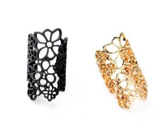 LACE RING Cuff Ring Chantilly lace Vintage Inspired Gold or Black  Gilded  Flower Lace Lightweight Popular Bridesmaid Gift