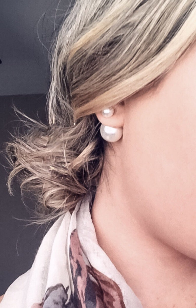 cebfe0ad804ab Double Sided Pearl Earrings Gold Silver Double Ball Stud White Gray Tribal  Front Back High Low Cuff Pearl Jacket Double Earring Birthstone
