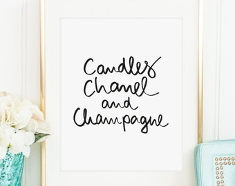 Poster, Print, Wallart, Fine Art-Print, Quotes, Sayings, Typography, Art: Candles, Chanel and Champagne - gift idea, fashion, Coco, Paris