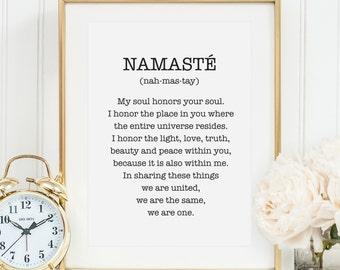 Poster, Print, Wallart, Fine Art-Print, Quotes, Sayings, Typography, Art: Namasté + definition - yoga, meditation, spiritual, peace, gift