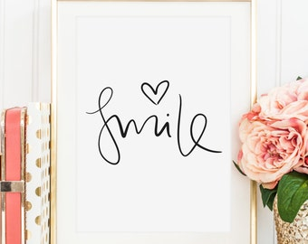 Poster, Print, Wallart, Fine Art-Print, Quotes, Sayings, Typography, Art: Smile - birthday, gift idea, happy, joy, life, love, friends