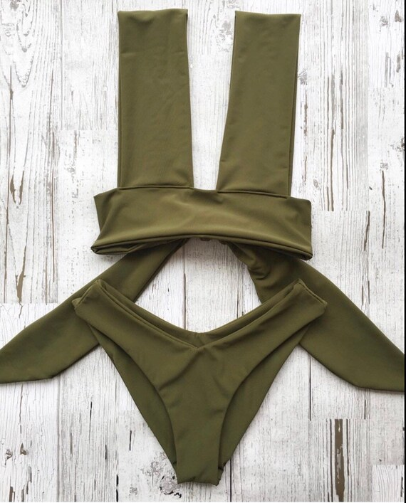 free shipping shades of top design Solid Olive green bikini set swimwear for her Thick band bikini top with  moderate coverage bottoms Seamless bikini bottoms Vacation wear