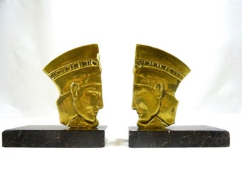 Rare art deco bronze pharao bookends  tut ench amun signed chantilly  egyptian revival France 1930