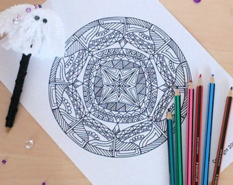 Adult Mandala Coloring Page Zentangle Inspired Pages Zen Etsy