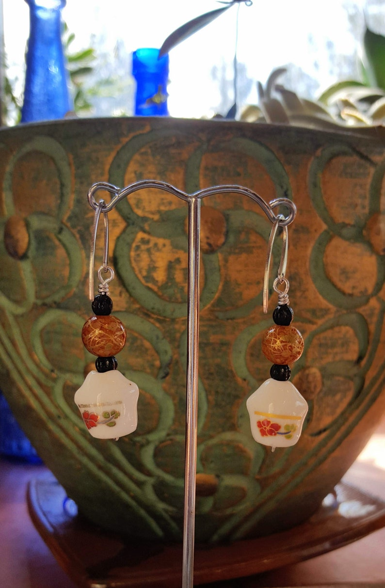 Chinese Ceramic Happy Cat Earrings on Stainless Steel Stylized Ear Wires