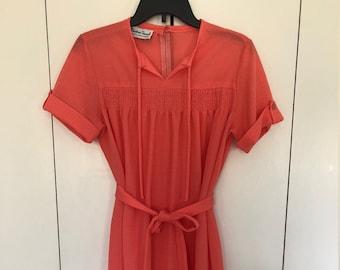 Bleeker Street 1970's Coral Gauze Dress