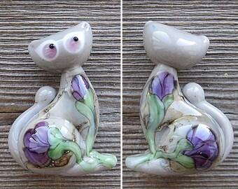 Pretty Kitty focal lampwork bead
