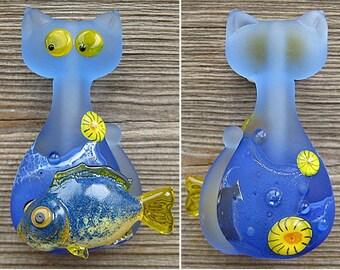 Cat&Fish focal lampwork bead