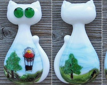 Cat with Air Balloon focal lampwork bead