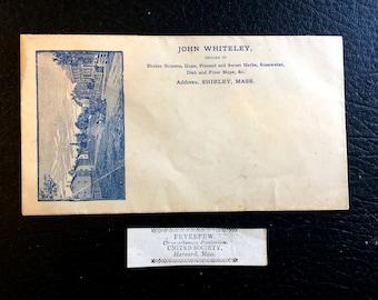 Harvard Mass Shaker Label Circa 1850 with Shirley Mass envelope