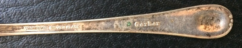 Gerber Winthrop Long Shaft Vintage Baby Spoon Silver Plated Advertising Promotion Baby Figural Spoon HT131