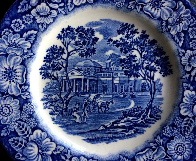 Liberty Blue Staffordshire Monticello Bread /& Butter Dessert Plates 6\u201d England Original Copper Engraving Four Plates