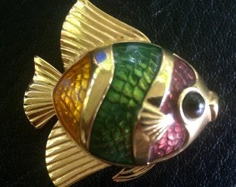 Rare Vintage Estee Lauder Tropical Fish Solid Perfume Compact White Linen
