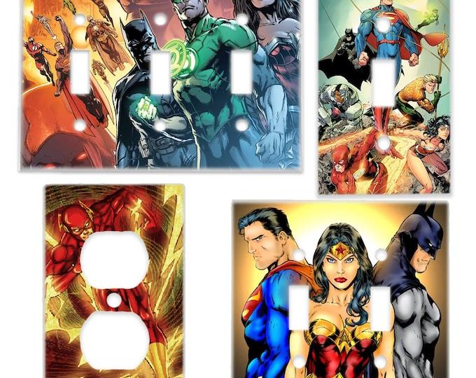 Justice League Light Switch Cover & Power Outlet Plate (Superman Batman Wonder Woman The Flash Green Lantern) DC Comic Room Decor