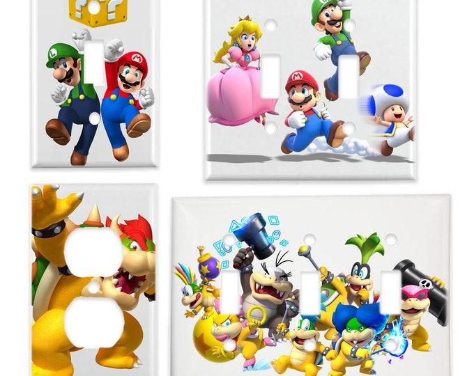 Super Mario Bros Light Switch Cover & Power Outlet Plate (Mario Luigi Bowser Princess Peach Toadstool Koopa Kids) Video Game Room Decor