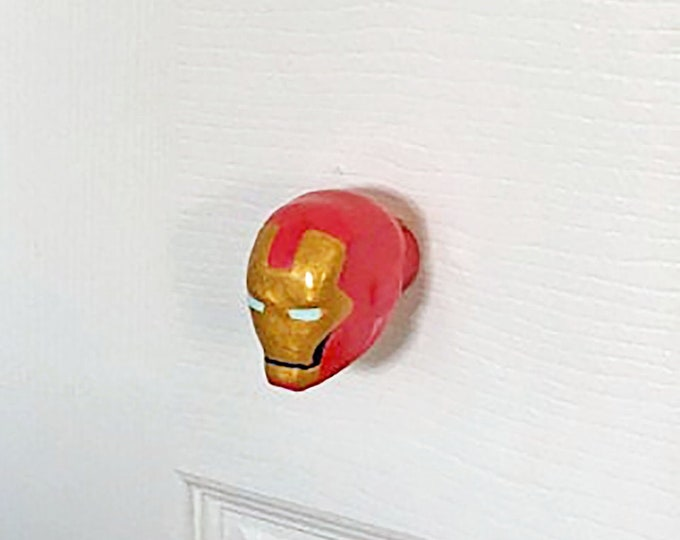 Iron Man Furniture Knob - marvel superhero comic book video game decor compatible w/ cabinets closets cupboards dressers drawers & more