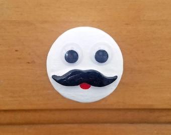 Fancy Mustache Man w/ Googly Eyes Drawer Pull  | Fancy Knobs