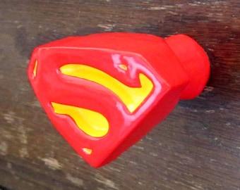 Superman Logo 3D Furniture Knob / Cabinet Knob | Superhero Drawer Pulls | DC Comic Book Decor