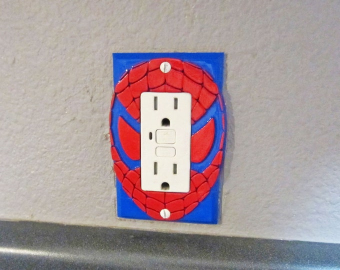 Spiderman Mask Light Switch Cover / Outlet / GFCI - 3D Spider-man Logo Wall Plate for your Awesome Marvel Superhero Room Decor