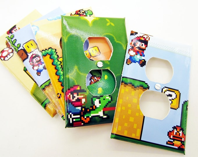Super Mario World Power Outlet Plate Covers - Cute Kids Room Decor - Super Nintendo Video Game Decor Room Wall Art