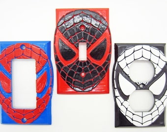 Spider-Man Mask Light Switch Cover / Outlet / GFCI - 3D Spiderman Logo Wall Plate for your Awesome Marvel Superhero Room Decor