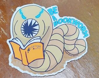 "Dune Sandworm ""Be a Bookworm"" Cute Sticker Holographic Vinyl 3x3 inch   Glossy Stickers Laptop Water Bottle Kids School"