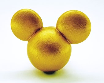 Mickey Mouse Ears Drawer Knob Cabinet Pull - Metallic Gold Silver Bronze Black White