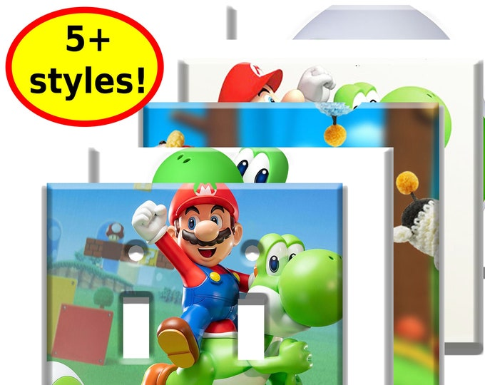 Super Mario Yoshi Double Light Switch Plate Covers - Game Room Decor - Video Game Decor Room Wall Art