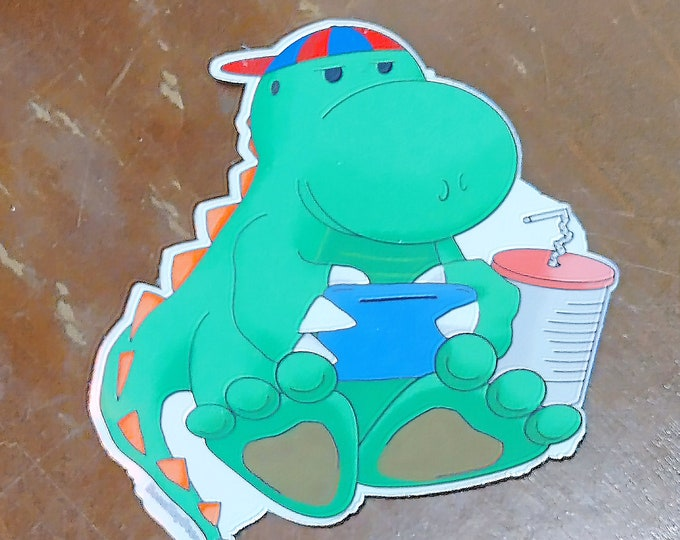 Cute Dino Gamer Sticker Holographic Vinyl 3x3 inch | Dinosaur Kids Room Glossy Stickers Laptop Water Bottle