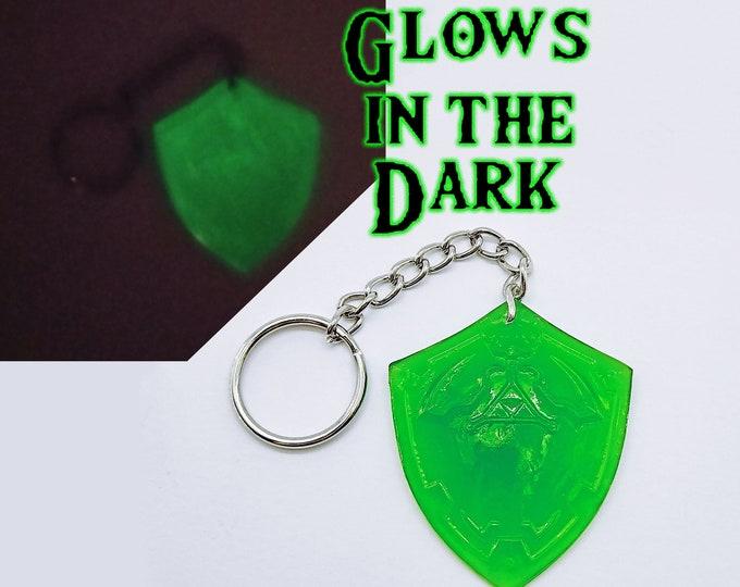 Hyrule Shield Glow in Dark Zelda Keychain Charm