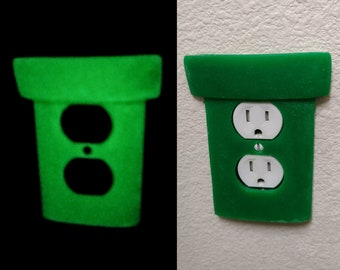 Super Mario Warp Pipe Wall Plates - GLOW in DARK Light Switch Cover / Outlet / GFCI Rocker