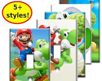 Super Mario Yoshi Power Single Switch Wall Plates - nintendo video game decor kids bedroom idea man cave decor game room gift
