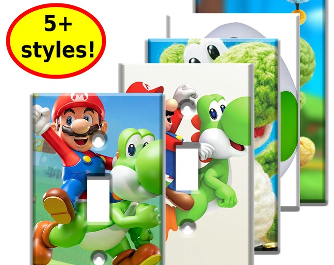 Super Mario Yoshi Single Light Switch Plate Covers - Game Room Decor - Video Game Decor Room Wall Art