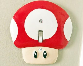 Super Mario Mushroom Light Switch & Power Outlet Plate Covers | Nintendo Switch Mario Kids Room Decor Game Room Decor Video Game Decor