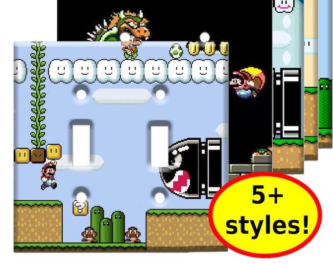 Super Mario World Double Light Switch Plate Covers - Super Nintendo Game Room Decor - Video Game Decor Room Wall Art