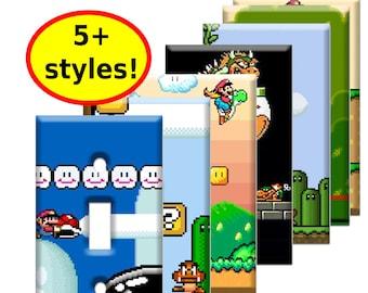 Super Mario World Single Switch Wall Plates - SNES nintendo video game decor kids bedroom idea man cave decor game room gift