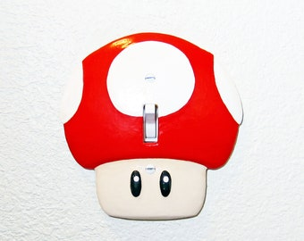 Super Mario Mushroom Light Switch Plate Cover | Nintendo Mario Kids Room Decor Game Room Decor Video Game Decor