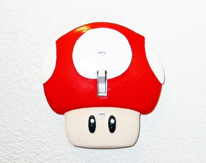 Featured listing image: Super Mario Mushroom Light Switch Plate Cover   Nintendo Mario Kids Room Decor Game Room Decor Video Game Decor